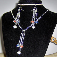 Red White & Blue Agates Hang from Silver Plate Chains Earrings and Necklace