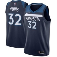 Karl-Anthony Towns Minnesota Timberwolves # 32 Nike Navy Swingman Icon Edition Jersey - Best Deal Online