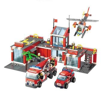 774pcs Brand Compatible City Fire Station Building Blocks Toy Educational Brick Firefighter Truck Toys Kids Birthday Gift
