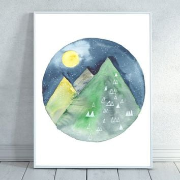 Mountain Watercolor, Full Moon, Abstract, Watercolor, Mountain Watercolor, Mountain Painting, Starry Night, Mountain Decor, Nature Art