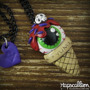 Eyeball Ice Cream Cone Necklace