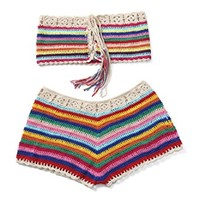 Women Crochet Bikini Set Knit 2PCS Bathing Suit Swimsuit Beachwear(Fit Small and Medium Size)