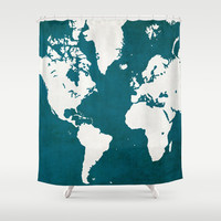 MAP! (in blue) Shower Curtain by Leah Thibodeau
