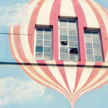 Hot Air Balloon Art - 8x10 Photography, Graffiti Art - Striped, Balloons, Windows, Pastel - Nursery, Circus - Pink and White, Blue Sky