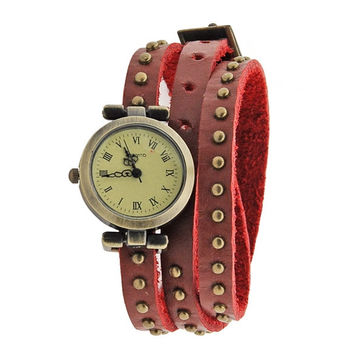 Classic Leather Strap Roma Number Dial Quartz Woman Watch