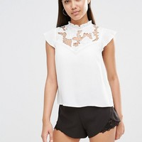 Lipsy Short Sleeve Frill Collar Blouse at asos.com