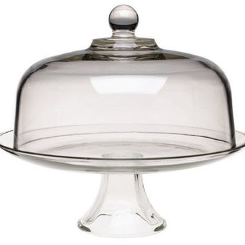 Cake Stand Dome Decor Display Glass Lid Pedestal Serveware Dessert Platter New