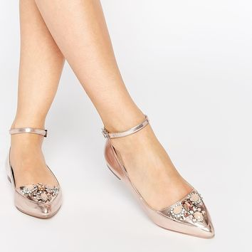 ASOS LAVISH Embellished Pointed Ballets