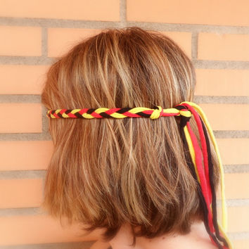 Belgium headband for women for the World Cup 2014 Brazil. Adult head band for Belgium world cup soccer fans.
