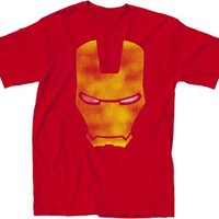 Simple Iron Man Distressed Face Adult Red T-shirt - Iron Man - | TV Store Online