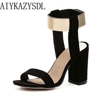 AIYKAZYSDL Plus Size 35-40 Women's Sandals Metallic Faux Suede High Heels Ankle Strap Shoes Square Thick Block Heel Pumps Shoes