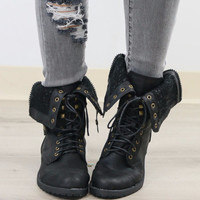 Davies Bluff Black Zip & Lace Up Quilted Combat Boot