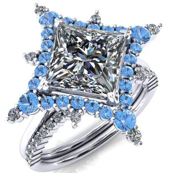 Thalim Princess/Square Moissanite 4-Point Star Aqua Blue Spinel and Diamond Halo Ring ver. 2
