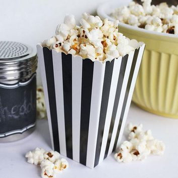 40 Black Striped Popcorn Box Scoop, Popcorn Bar, Carnival Party Decor, Circus Birthday Party, Hollywood Movie Night
