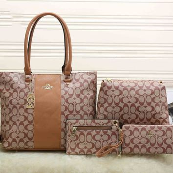 Coach Women Shopping Bag Leather Satchel Handbag Shoulder Bag Crossbody Four piece Set G-KSPJ-BBDL