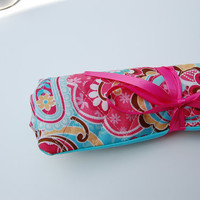 Quilted Flowered Travel Jewelry Organizer/Pouch/Bag/Roll