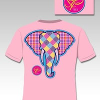Sassy Frass Heads Up Elephant Plaid Patchwork Girlie Bright T Shirt