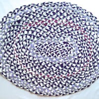 Oval Braided Tshirt Rag Rug- White, gray, purple, lavender, and pink