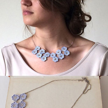 Blue Statement Necklace, Crochet Beaded Bib Necklace, Oya Boho Flower Collar, Geometric Chain Necklace, Beaded Crochet Jewelry, Women's Gift