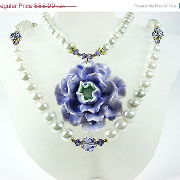 CIJ SALE Lavender floral pendant necklace Multistrand white pearl necklace Lilac Swarovski crystal necklace Multi strand beaded jewelry
