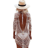 saida de praia Beach Tunic Swimwear Pareo loose Dress Swimsuit Cover Up Sarong Beachwear 2016 Bikini Cover-Up robe de plage h308