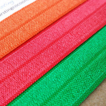 Summer hair ties, set of 3 foldover elastic ponytail holders, bright color hairtie, foe ponytail holder, foldover elastic, orange green pink