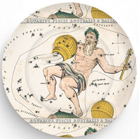 Aquarius zodiac sign  on 10 inch Melamine Plate by TheMadPlatters