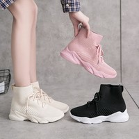 New lace-up high top socks shoes fashion sneakers fly weave breathable platform casual shoes