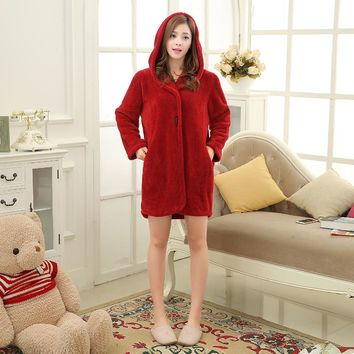 Hooded Plush Robe Tracksuit For Women Truien Horn Button Sexy Sleepwear Knitted Bathrobes Hoodies Sleep Tops Bridesmaid Robes