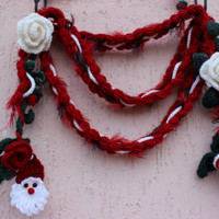 Crochet Christmas Necklace Red Lariat Scarf Santa Necklace Earings Headband Set  Unique Christmas Gift For Her EXPRESS SHIPPING