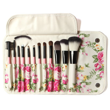 12pcs Professional Goat Hair Makeup Brush Set Kit Eyeshadow Blusher COsmetic Brushes Make Up Tools
