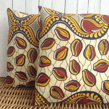 Pair of Cushion covers, throw pillow cover, Scatter cushion, Julius Holland African wax print  (17 inch) African decorative pillow