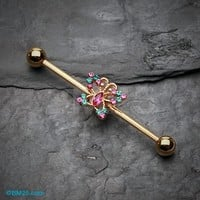 Golden Glam Butterfly Sparkle Industrial Barbell