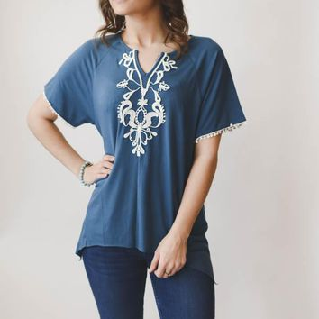 Embroidered Angelica Top - Blue