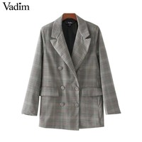 Women Plaid Blazer Casual Suit Blazer Notched Collar Double Breasted Long Sleeve Work Design Coat Outwear