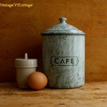 Vintage French Enamel Coffee Canister - Green Enamelware - Graniteware - Paris Flea Market - Cottage Farmhouse Kitchen Decor