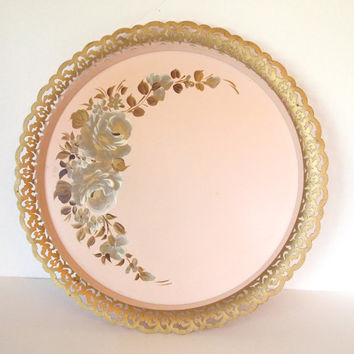 Nashco Pink and Gold Handpainted Tole Painted Round Tray with Roses  - New York - USA - Mid Century