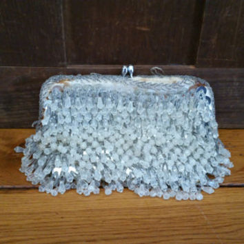 Vintage Silver Sequined Beaded Walborg Purse Evening Bag