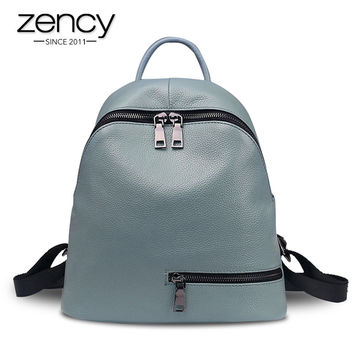 2017 Fashion Zipper Genuine Leather Women Backpacks for Teenage Girls Ladies Pocket School Bags Supplies Female Mochila Escolar