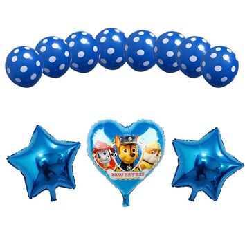 11pcs 18inch Pink Sky Chase PAW PATROL dog Heart Foil balloons blue latex Birthday Party decor Helium Globos Toys baby shower