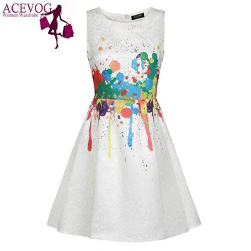 ACEVOG Women Vintage Summer Dress Sleeveless Casu Vestidos Elegant Dresses 1950s 60s Floral  Rockabilly Print Swing Vestidos