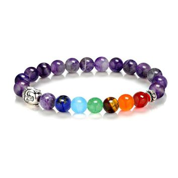DIEZI Yoga Energy Natural Stone jewelry Lava 7 Chakra Healing Balance Beads Bracelet Men Women Beads Jewelry Reiki Prayer Stones