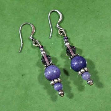Vintage Handmade Purple Earrings Beaded Dangles Purple Beads Lavender Sugilite Natural Stone Beads Surgical Steel Wires Silver Findings