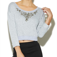 Embellished Crop Sweater | Arden B.