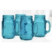 Circleware Yorkshire 4-piece Colored Mason Jar Mug Set Vintage Blue - 17.5 Ounces