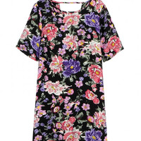 Black Floral Printed T-Shirt Dress