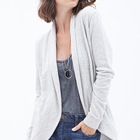 LOVE 21 French Terry Open Cardigan Heather Grey
