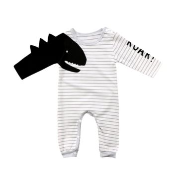 Dino Roar Stripe Long Sleeve One Piece