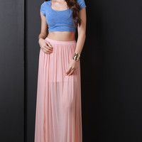 Semi-Sheer Mesh High Slit Maxi Skirt