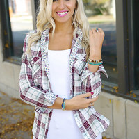 Small Town Plaid Top - Burgundy/Sage